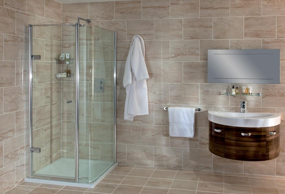 Ex display hinged door with curved side screen corner for Ex display bathrooms