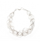Five Layered Short Fangle Necklace in Silver