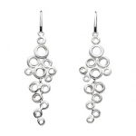 Sterling Silver Honeycomb Cluster Drop Earrings