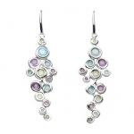 Sterling Silver Honeycomb Gem Cluster Earrings