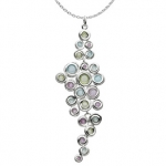 Sterling Silver Honeycomb Gem Cluster Necklace