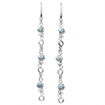 Sterling Silver and Topaz Long Honeycomb Earrings