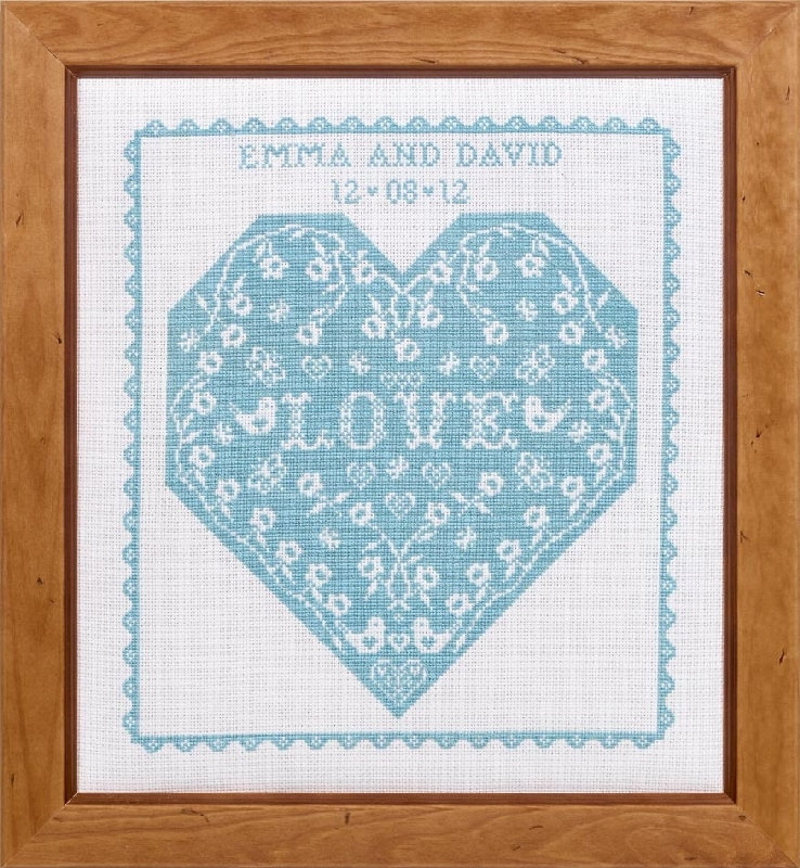hs counted cross stitch sampler kit flower heart wedding sampler