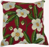 Cleopatra's Needle Needlepoint Kit - Herb Pillow - Wild Rose on Red