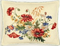 Eva Rosenstand Cross Stitch Kit - Poppies & Cornflowers Cushion