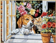 Friends at the Window (Dog & Cat) Canvas