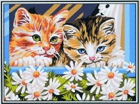 Kittens and Dasies Canvas