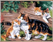 Mother Cat with Kittens Canvas