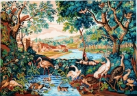 Royal Paris Printed Tapestry Canvas - Verdure with waders (Verdure aux echassiers. Fin XVII siecle)