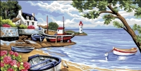 Royal Paris Tapestry Canvas � Boats on the Sea Shore