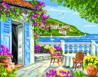 Royal Paris Tapestry/Needlepoint - Coastal Garden Scene