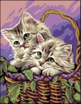 Royal Paris Tapestry/Needlepoint - Kittens in Basket