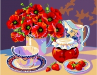 Royal Paris Tapestry/Needlepoint - Poppies & Strawberry Jam