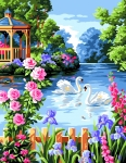 Royal Paris Tapestry/Needlepoint - Swans in Floral Pond
