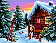 Royal Paris Tapestry/Needlepoint Canvas - The Snow Chalet