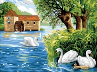 Royal Paris Tapestry/Needlepoint Canvas � Watermill & Swans