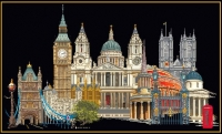Thea Gouverneur Cross Stitch Kit - London/England 18# Black