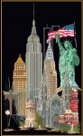 Thea Gouverneur Cross Stitch Kit - New York/America 18# Black