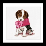 Thea Gouverneur Cross Stitch Kit - Puppy Love with Purse