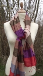 Hand Woven Fairtade Silk and Cotton Scarf in Bold Stripes