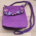 Amelia Crochet Shoulder Bag Purple & Magenta 