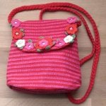 Amelia Crochet Shoulder Bag Red & Pink