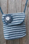 Amelia Crocheted Shoulder Bag Blue Grey