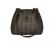 Ava Fairtrade Tweed Handbag by Earth Squared Green