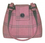 Ava Plaid Tweed Handbag Pink & Grey