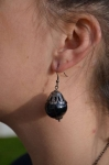 Black Bauble Bead Earrings 