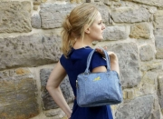 Alice Metallic Linen Handbag Blue