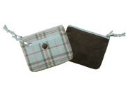 Ava  Plaid Tweed Purse Blue and Brown