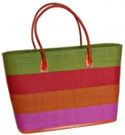 Bold Stripe Raffia Straw Fairtrade Beach or Shopping Bag