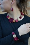 Cassandra Crocheted Flower and Button Necklace