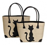 Cats Raffia Straw  Fairtrade Beach or Shopping Bag