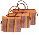 Classic Stripey  Raffia Straw  Fairtrade Beach or Shopping Bag