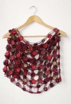 Loretta Crochet Flower Shawl Burgundy