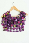 Loretta Crochet Flower Shawl Purple/Lime
