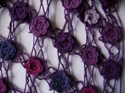 Loretta Crochet Flower Shawl Purple