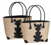 Dogs Raffia Straw Fairtrade Beach or Shopping Bag