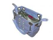 Button Linen Handbag Blue