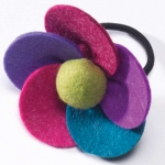Multi colour fair trade felt flower hair bobble