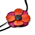 Florosa Fair Trade Tagua Necklace Pink and Orange