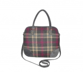 Grace Fairtrade Tweed Handbag by Earth Squared Grey Pink