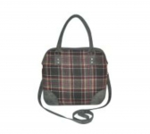 Grace Fairtrade Tweed Handbag by Earth Squared Grey Red