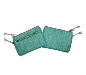 Alice Metallic Linen Purse Green