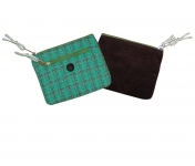 Ava Plaid Tweed Purse Green and Plum