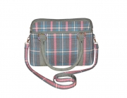 Haddington  Fairtrade Tweed Bag Pink and  Grey by Earth Squared