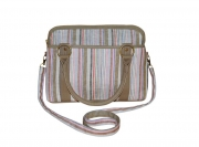Haddington Fairtrade Linen Bag Blue/Taupe by Earth Squared