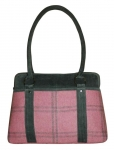 Haddington Plaid Tweed Handbag Grey & Pink